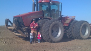 Farmer Reid Bowen with his kids
