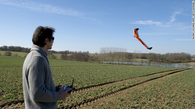 Using a drone to survey a field. source