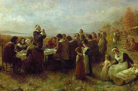 The First Thanksgiving, by Jennie Augusta Brownscombe 1850-1936