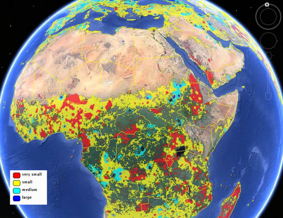 Field size map of Africa. Photo source